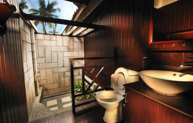 Toilet with outdoor concept shower
